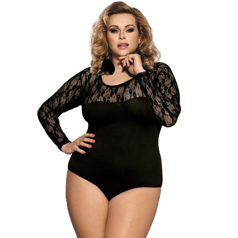 Body Nero Manica Lunga Queen Size
